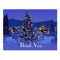 Christmas holiday wedding thank you postcard. post cards