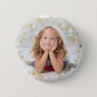 Christmas Holiday - White & Gold Snowflake Frame Pinback Button