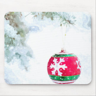 Christmas holiday white snow watercolor mouse pad