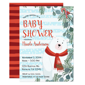Christmas Holiday Winter Polar Bear Baby Shower Card