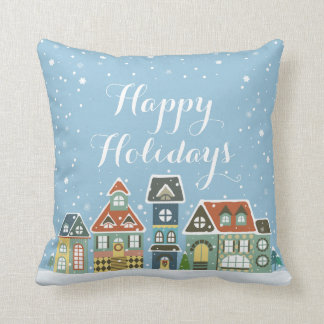 Christmas Holiday Winter Scene Village Homes Throw Pillow