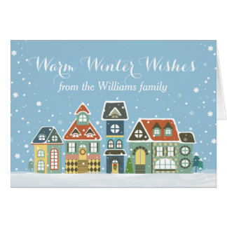 Christmas Holiday Winter Snow Village Homes Greeting Cards