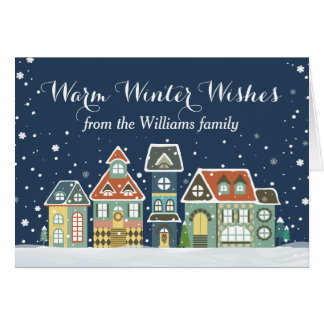 Christmas Holiday Winter Snow Village Homes Card