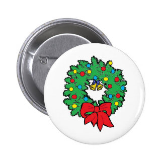Christmas holiday wreath 2 inch round button