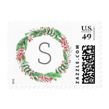 Christmas Themed Christmas Holiday Wreath Monogram Family Cards Postage