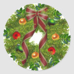 Christmas Holiday Wreath Red Bow Round Stickers