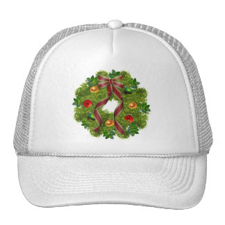 Christmas Holiday Wreath Red Bow Trucker Hat