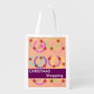 Christmas Holiday Wreath Shopping Reusable Bags Market Tote
