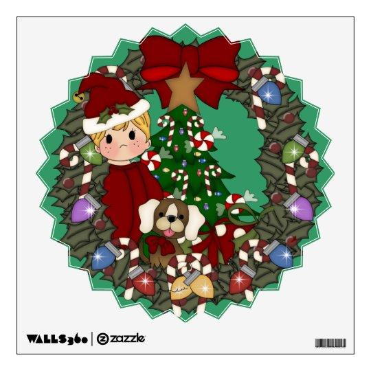 Christmas Holiday Wreath Wall Decals