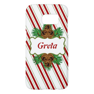 Christmas Holiday Xmas Candy Cane Personalized Samsung Galaxy S7 Case