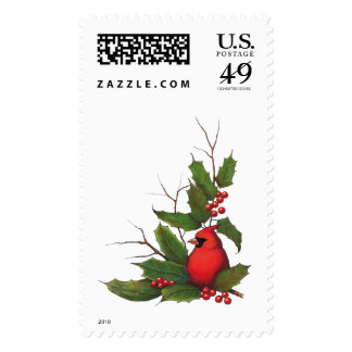 Christmas, Holidays, Bird with Holly, Twigs Postage Stamps