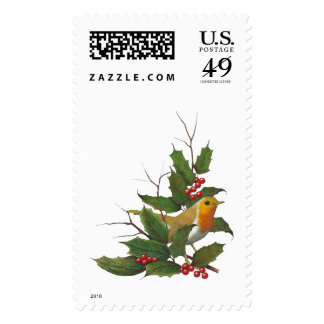 Christmas, Holidays: English Robin, Holly, Twigs Stamps