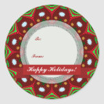 Christmas Holidays Gift-Tag Round Sticker