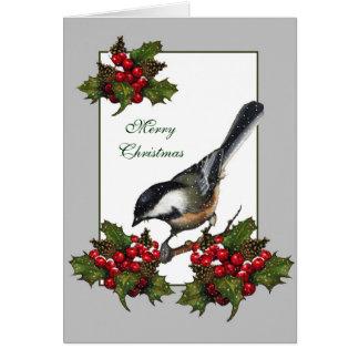 Christmas: Holidays: Holly, Berry: Chickadee, Bird Card