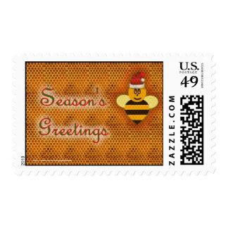 Christmas Holidays Season's Greetings bee apiary Postage Stamp
