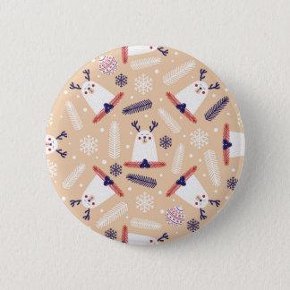 Christmas, holidays, tree decorations, pattern pinback button