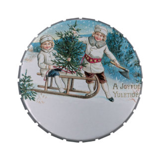 Christmas Holidays Vintage Old Fashioned Candy Tin