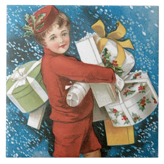 Christmas Holidays Vintage Old Fashioned Tile