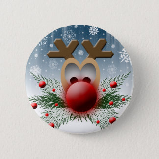 Christmas Holidays Winter Reindeer Pinback Button