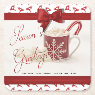 Christmas Holidys, Best Time of the Year Square Paper Coaster