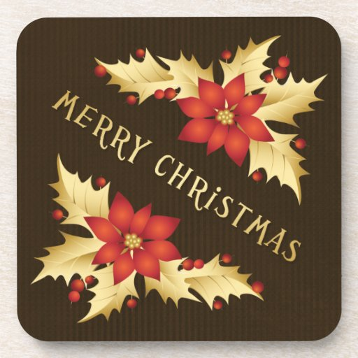 Christmas Hollies Poinsettia coasters