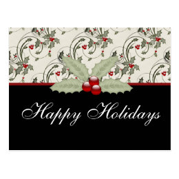 Christmas Holly 2 - Customizable Holiday Postcard