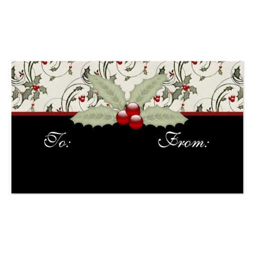 Christmas Holly 2 - Holiday Gift Tags Business Card Template