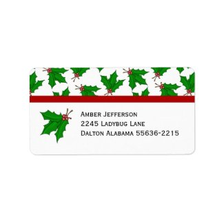 Christmas Holly Address Labels