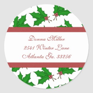 Christmas Holly Address Labels sticker