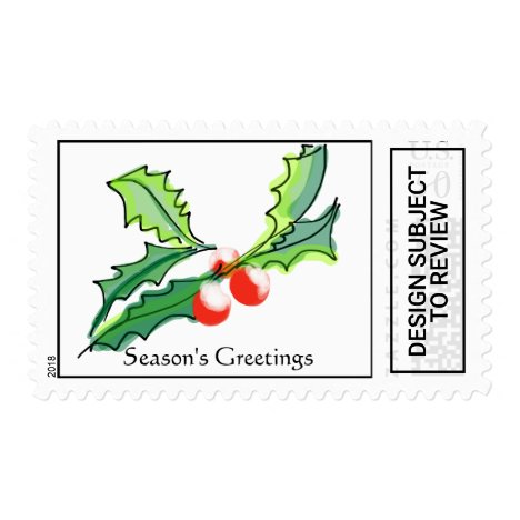 Christmas Holly and Berries Postage