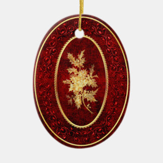 Christmas Holly and Berries with Gold Accents Ceramic Ornament