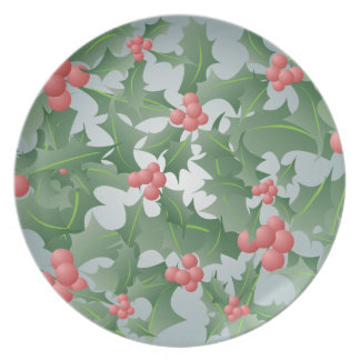 Christmas Holly and Berry Pattern Plate