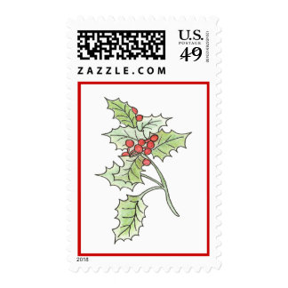 Christmas Holly and Berry Postage Stamp
