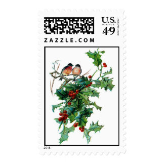Christmas Holly and Birds Postage Stamps