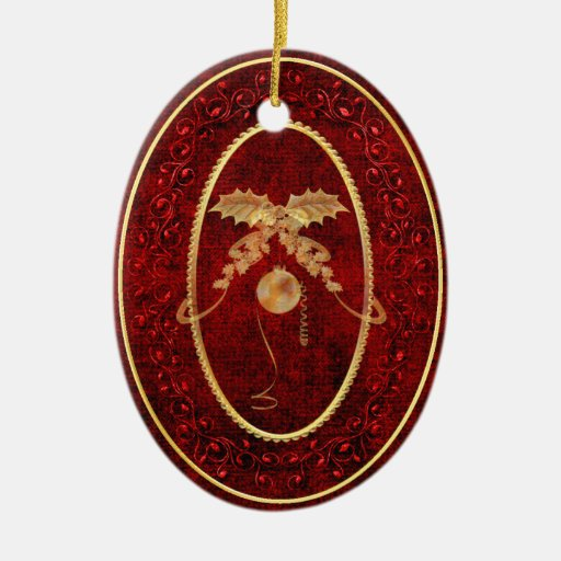Christmas Holly and Ornament with Gold Accents