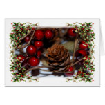Christmas Holly and Pinecone Card