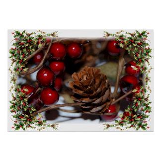 Christmas Holly and Pinecone Poster