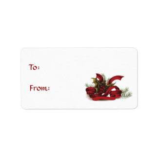 Christmas Holly and Pines Gift Tag Address Label