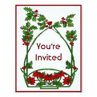 Christmas Holly and Pointsettia Card