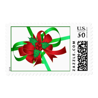 Christmas Holly And Ribbon Postage Stamps