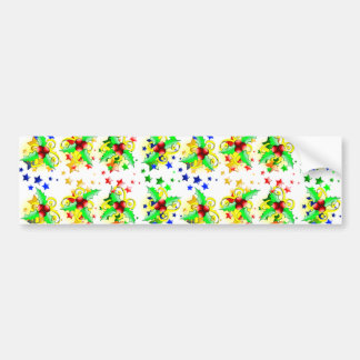 Christmas Holly and Stars Bumper Stickers
