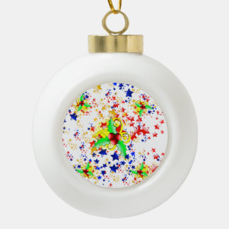 Christmas Holly and Stars Ornament