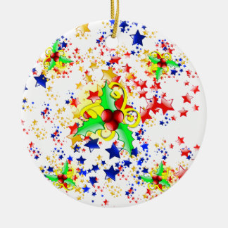 Christmas Holly and Stars Ornaments
