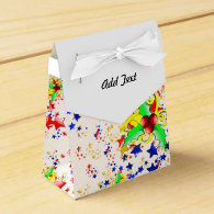 Christmas Holly and Stars Party Favor Box