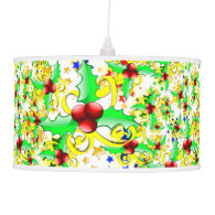 Christmas Holly and Stars Pendant Lamps