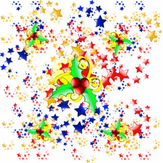 Christmas Holly and Stars Photo Cut Outs