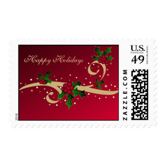 Christmas holly and stars - Postage