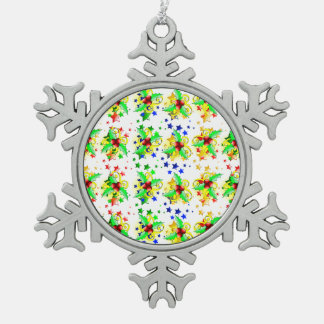 Christmas Holly and Stars Snowflake Pewter Christmas Ornament