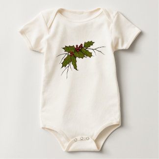 Christmas Holly, Berries, and Twigs, Original Art Baby Bodysuit