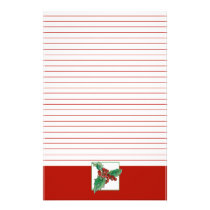 Christmas Holly Berries Botanical Art Red Lined Stationery